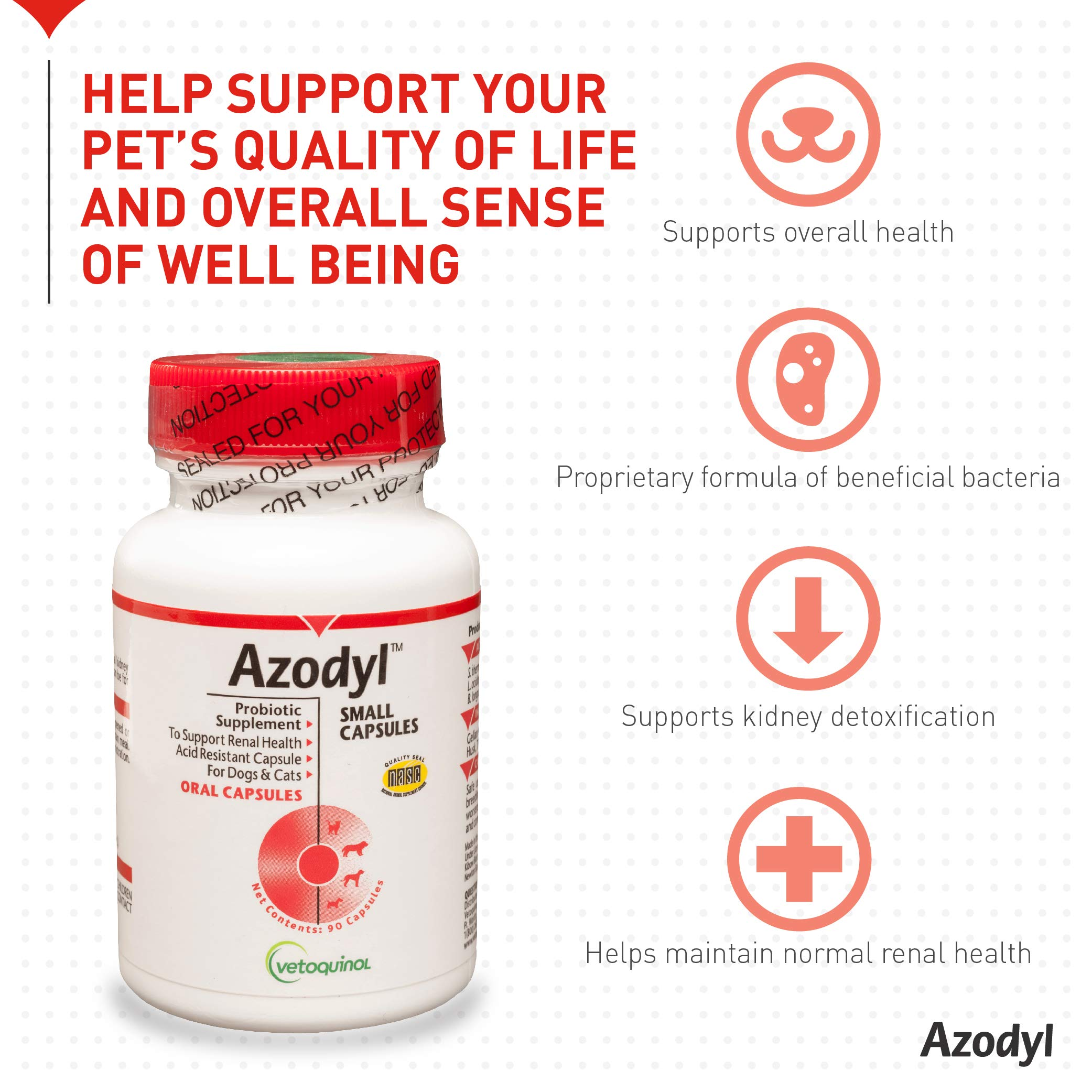 Vetoquinol Azodyl Kidney Health Supplement for Dogs & Cats, 90ct - Probiotic Pet Well-being - Help Support Kidney Function & Manage Renal Toxins - Renal Care Supplement - Easy-to-Swallow Small Caps by Vetoquinol (Image #3)