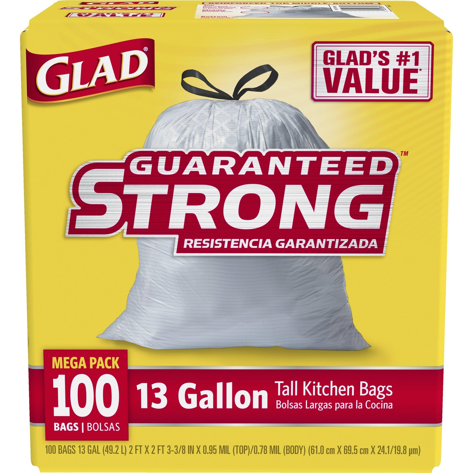 Glad Tall Kitchen Drawstring Trash Bags - 13 Gallon - 100 Count