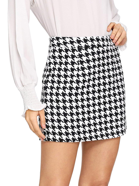 Black and White WDIRARA Women's Mid Waist Houndstooth Bodycon Pencil Mini Skirt