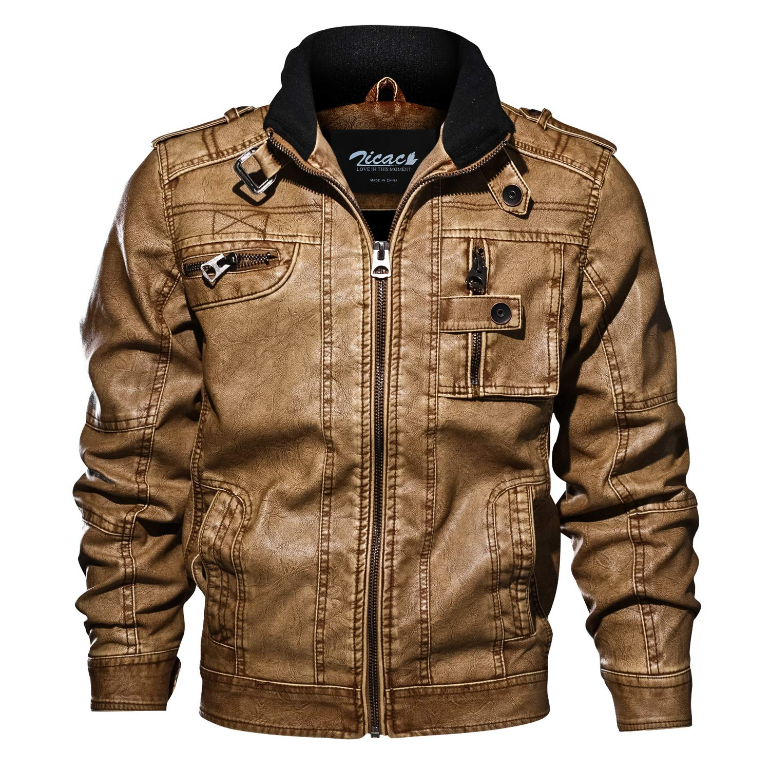 Zicac Mens' Stand Collar Pu Leather Jackets Vintage Washed Biker Jacket Motorcycle Rider Coat