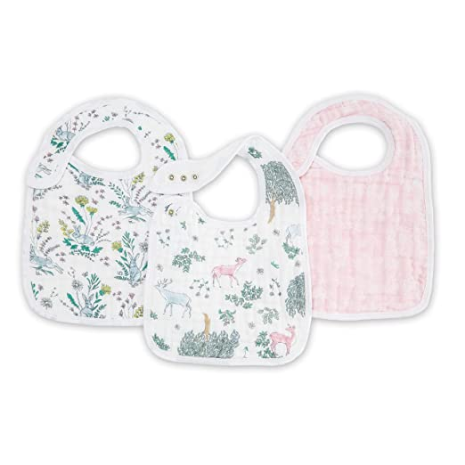 "aden + anais Snap Bib, 100% Cotton Muslin, Soft Absorbent 3 Layers, Adjustable, 9"" X 13"", 3 Pack (Forest Fantasy)"