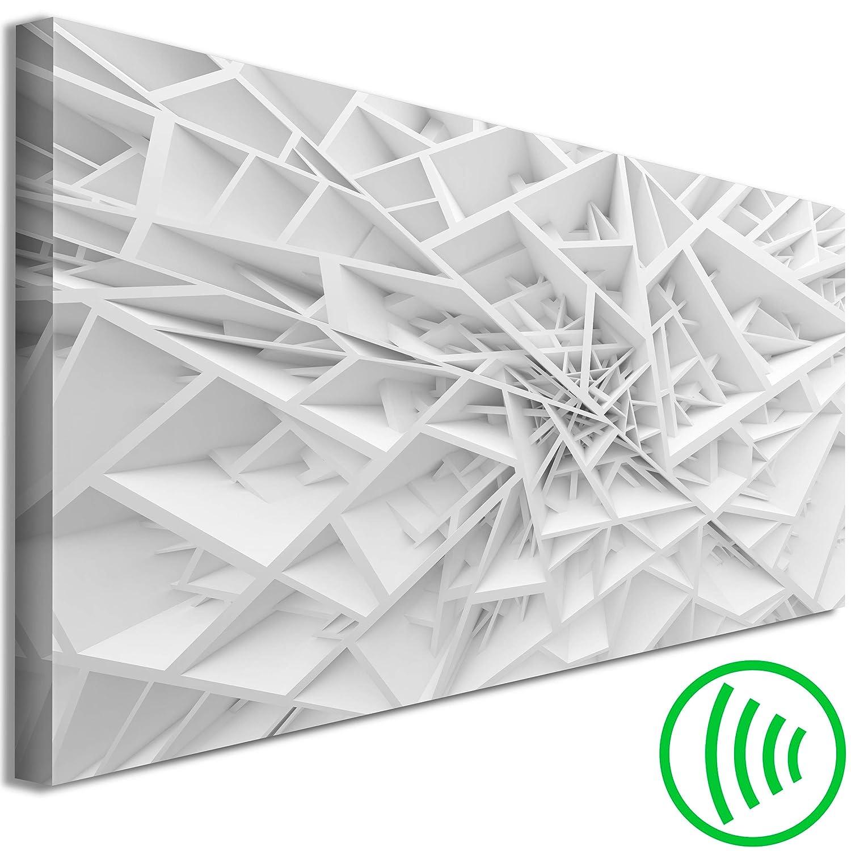 decomonkey Akustikbild Abstrakt 135x45 cm 1 Teilig Bilder Leinwandbilder Wandbilder XXL Schallschlucker Schallschutz Akustikdämmung Wandbild Deko leise Modern Weiß Geometrisch