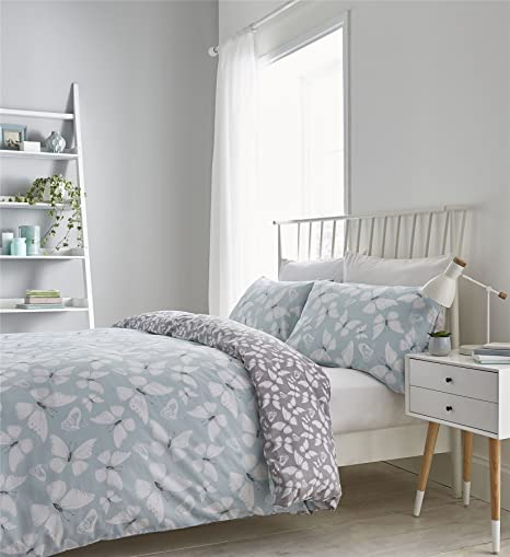 Amazon.com : BUTTERFLY SILHOUETTES DUCK EGG BLUE WHITE ...