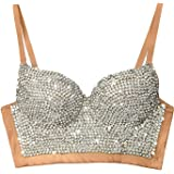 5951c4ca12 ELLACCI Women s Handmade Rhinestone Diamond Push up Bustier Crop Top Sexy  Punk Corset Bra Khaki