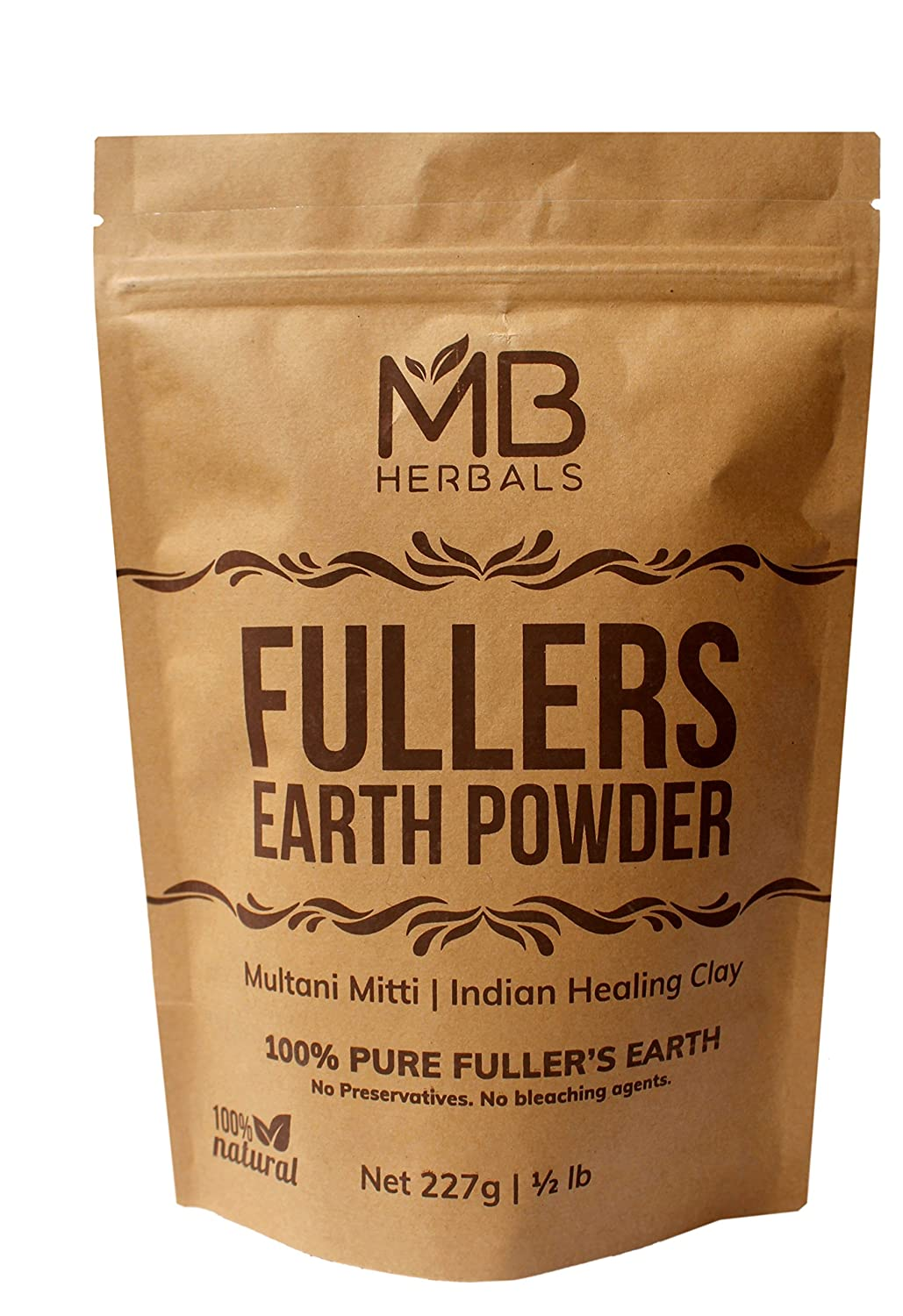 MB Herbals Fullers Earth Powder 227 Gram   Half Pound   Pure Fuller's Earth Powder   Multani Mud Mitti   Indian Healing Clay   Bentonite Clay   No Bleaching Agents   No Chemicals   No Added Fragrance
