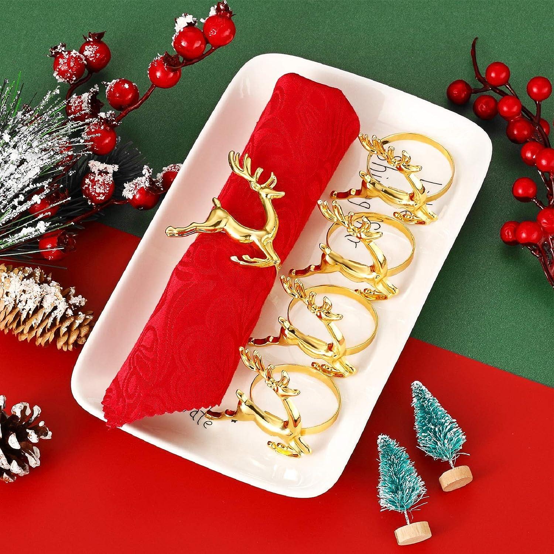 Gold, 12 St/ück WILLBOND Serviettenringe mit Hirsch-Motiv Zubeh/ör Hochzeitsschmuck Tischdekoration Weihnachts-Serviettenringhalter Partys Serviettenschnalle f/ür Urlaub Abendessen Rentier