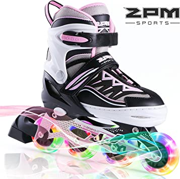 Renewed 2PM SPORTS Vinal Girls Adjustable Inline Skates with Light up Wheels Beginner Skates Fun Illuminating Roller Skates for Kids Boys and Ladies