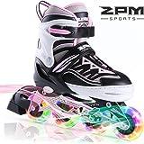 2PM SPORTS Cytia Pink Girls Adjustable Inline Skates with Light up Wheels, Fun Flashing Illuminating Roller Skates for Kids