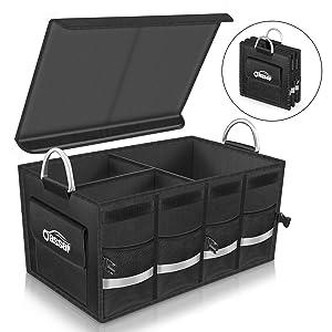 Oasser Trunk Organizer Cargo Organizer Trunk Storage Organizer with Foldable Cover Aluminium Alloy Handle Reflective Stripe