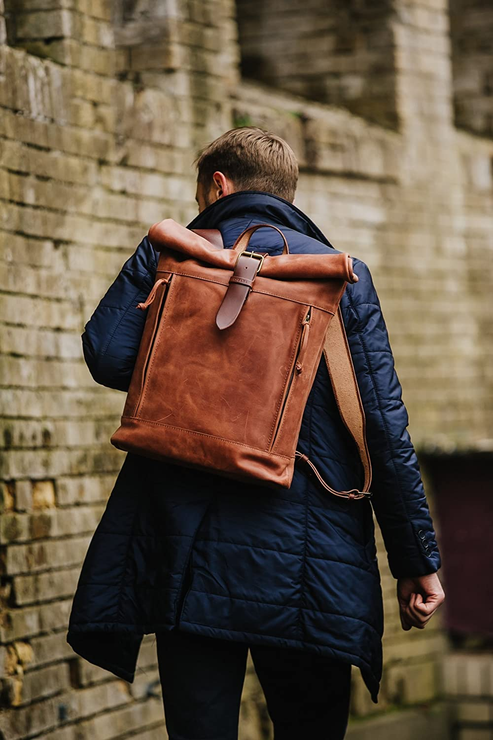 Amazon Com Leather Backpack Roll Top Backpack By Kruk Garage Cognac