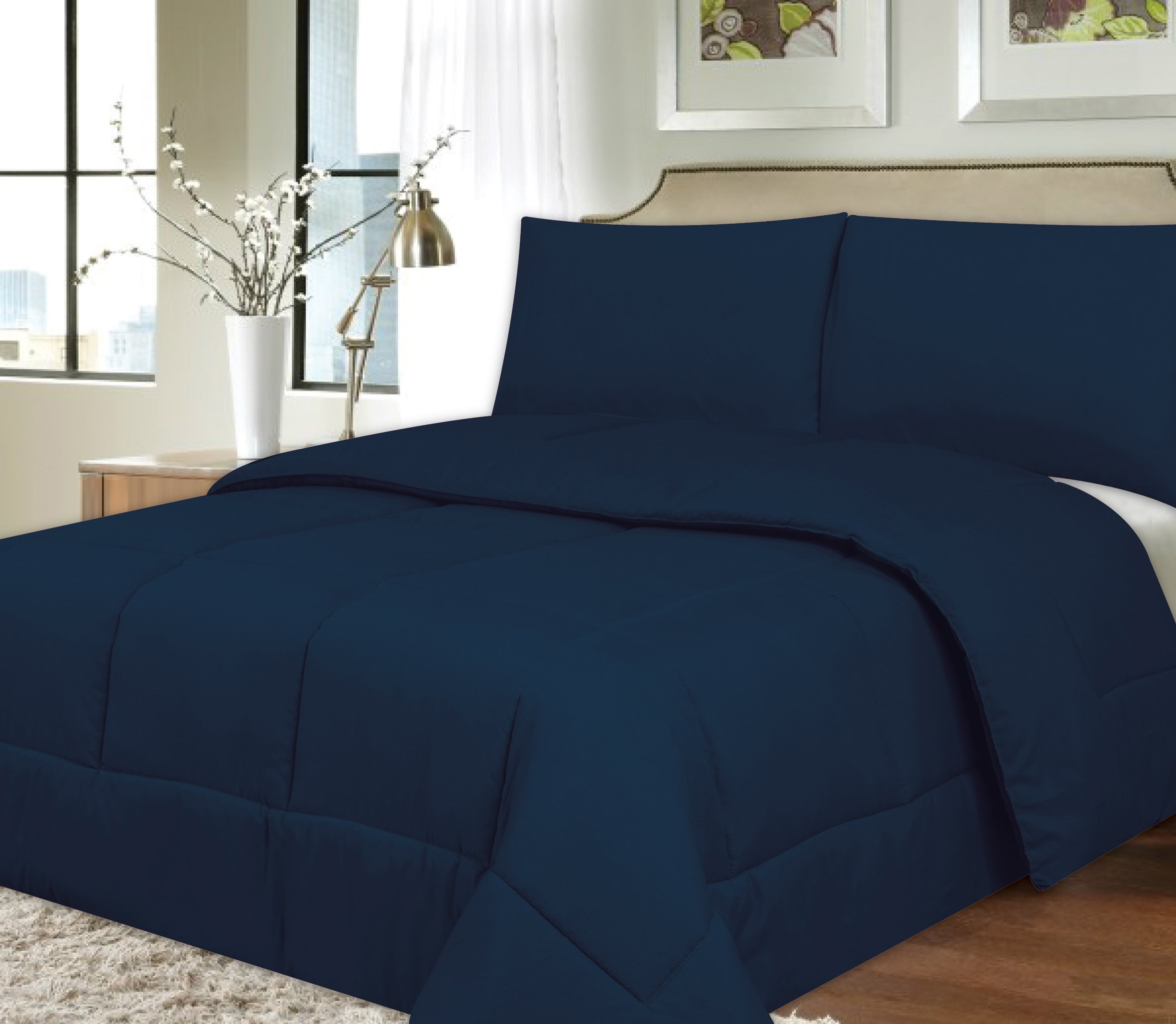 Sweet Home Collection Down Alternative Polyester Comforter Box Stitch Microfiber Bedding - Full, Navy