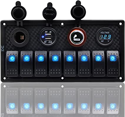 MY 8 Gang Car Marine Boat Circuit RV LED Rocker Switch Panel
