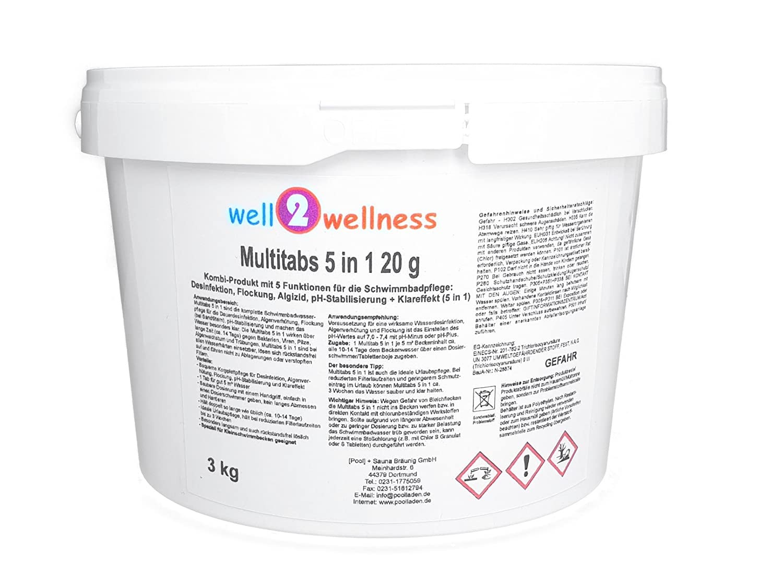 well2wellness Chlor Mini Multitabs 5 in 1 / Kleine Multitabs 20g mit 5 Funktionen - 3, 0 kg [Pool] + Sauna BRÄUNIG GmbH