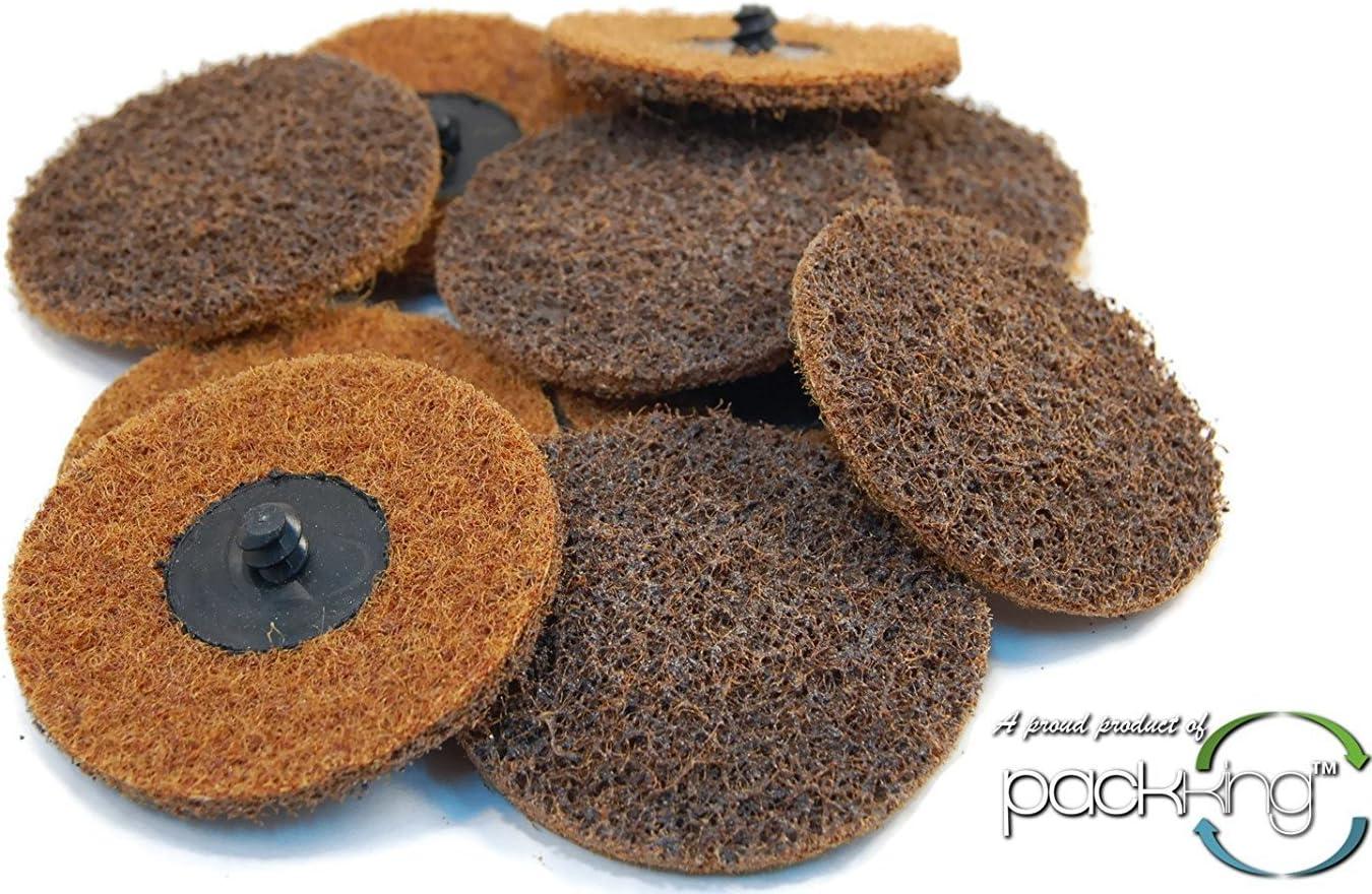 """10-pc. 3"""" Coarse Surface Preparation Discs & Sanding Mandrel Fits Roloc / Rolok Style"""