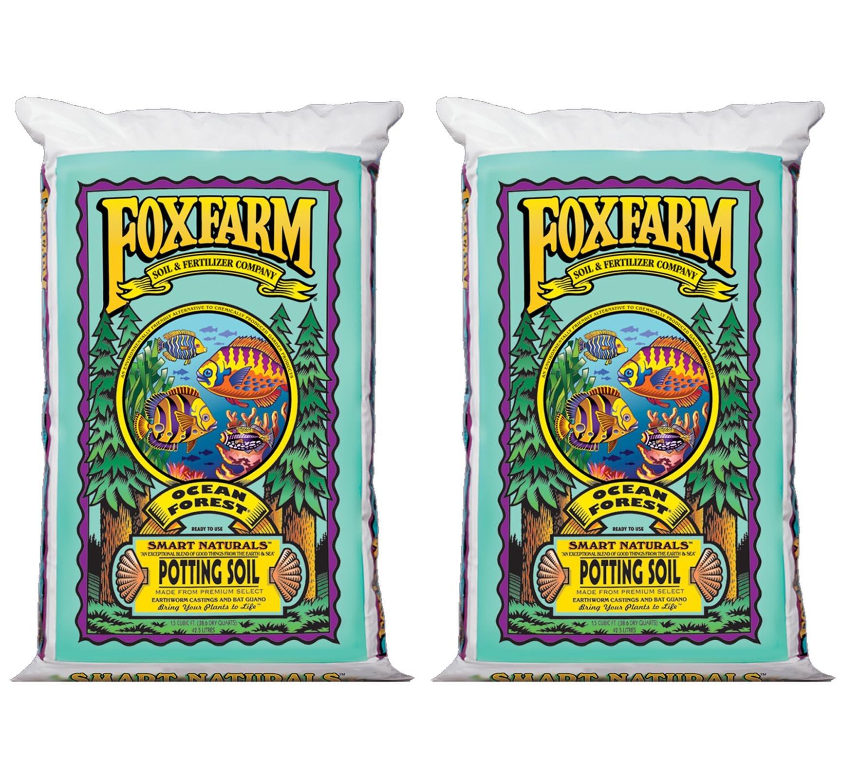 (2) Foxfarm FX14000 Ocean Forest Garden Potting Soil Bags 6.3-6.8 pH   3 Cu Ft