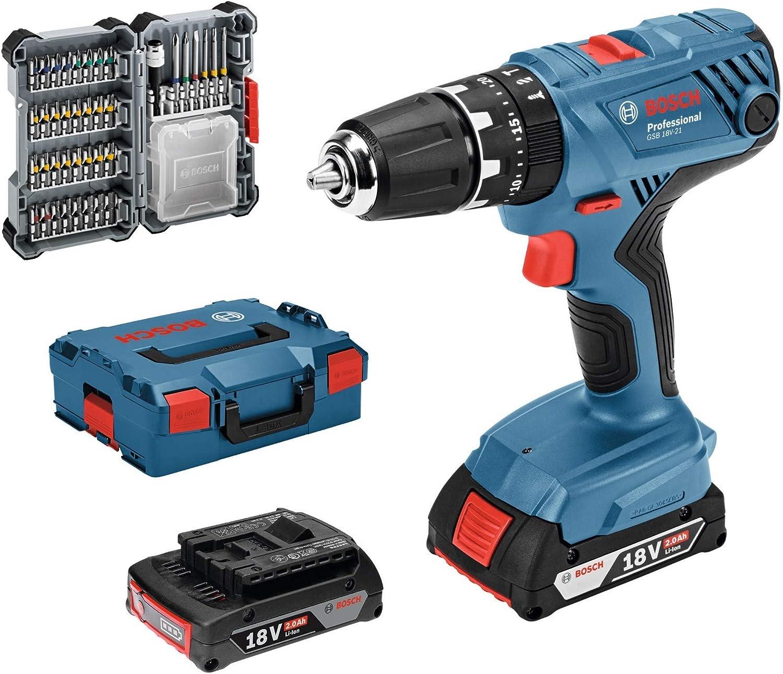 Bosch Professional GSB 18V-21 Taladro percutor, 2 baterías x 2,0 Ah, máximo perforación 10 mm, set 40 puntas, en L-BOXX, 36 W, 18 V, Azul, Única