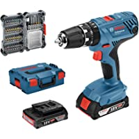Bosch Professional 18V System GSB 18V-21 - Taladro percutor a batería (55 Nm, 1800 rpm, 2…