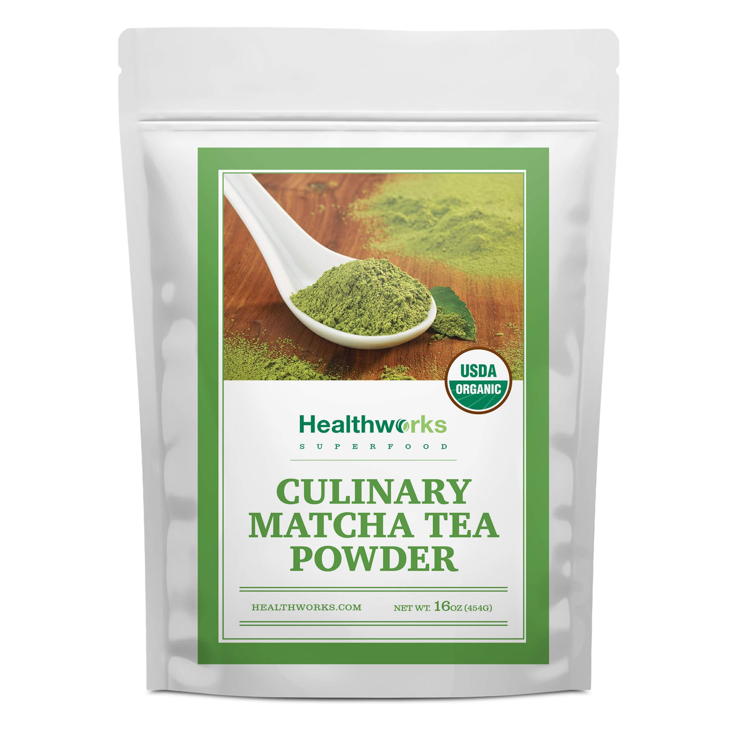 Healthworks Matcha Green Tea Powder Unsweetened (16 Ounces / 1 Pound) |Pure Certified Organic Premium Culinary Grade Extract |Keto, Vegan & Non-GMO | Smoothies, Lattes, Ice Cream, Baking Recipes by Healthworks