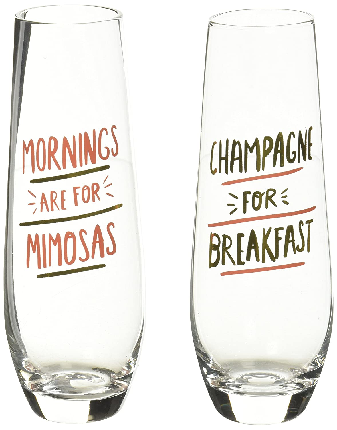 About Face Designs Stemless Mornings are for Mimosas Breakfast Champagne Flute Set, Clear 185919