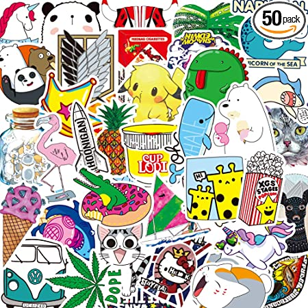 Black and White 50 Stickers for Water Bottles Big 53-Pack Cute,Waterproof,Aesthetic,Trendy Stickers for Teens,Girls Perfect for Waterbottle,Laptop,Phone,Travel Extra Durable 100/% Vinyl