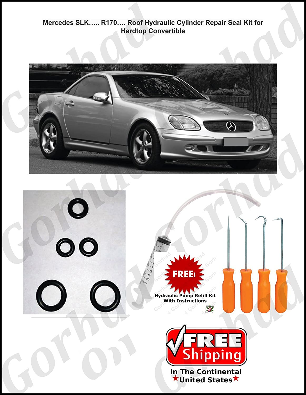Amazon.com: 96-04 Mercedes SLK 230 Hydraulic Cylinder Repair Kit with Picks  Convertible R170: Automotive
