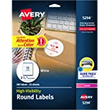 "Avery Print-to-the Edge High-Visibility 2.5"" Round Labels, 300 Pack (5294)"
