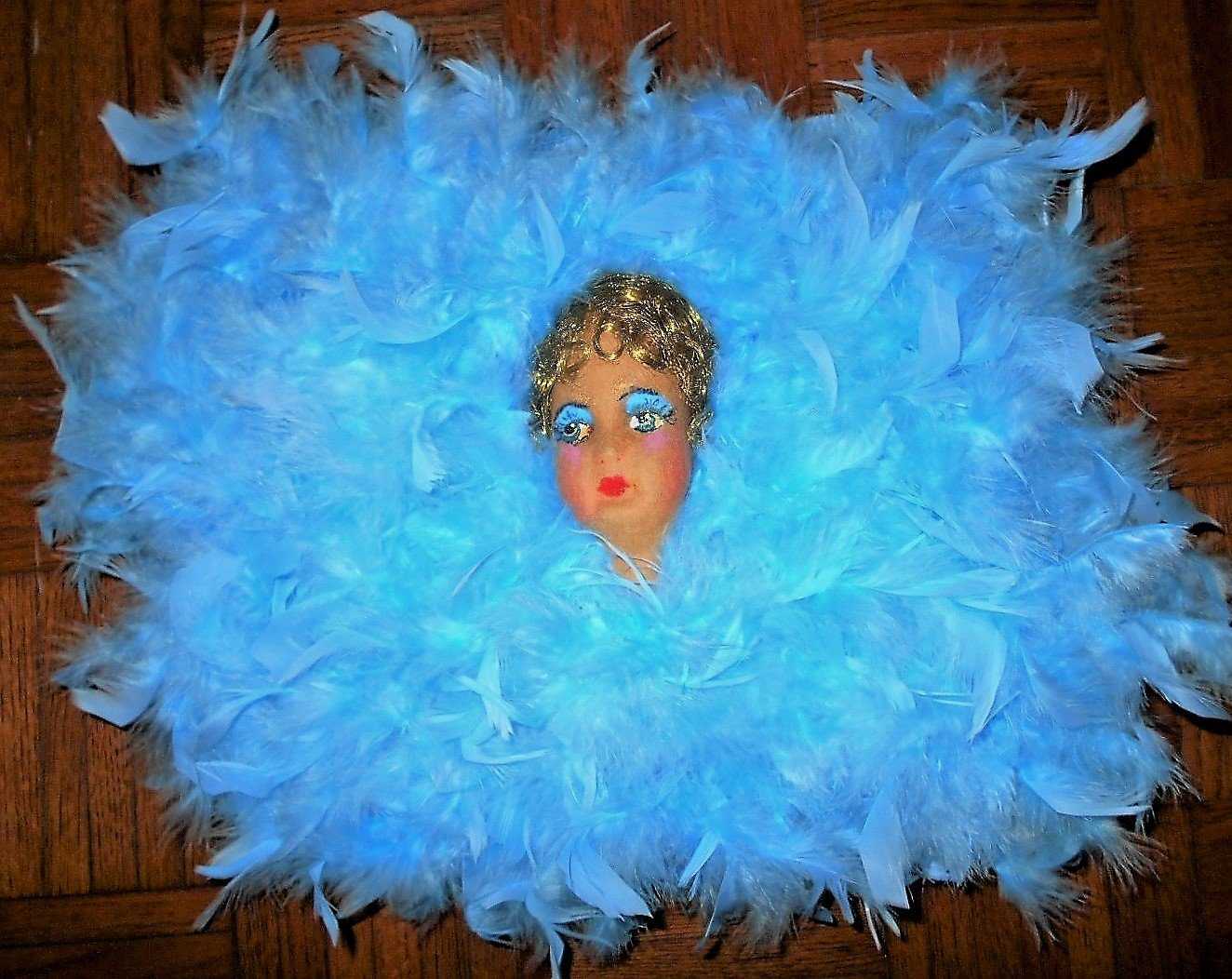 Image of 1920s Felt Flapper Face, in Blue Feather Lingerie Boudior Pillow , Face over 100 Years, Feather Pillow New Made by Me. One of a Kind!