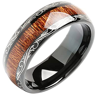 7d3d8e2d22c 100S JEWELRY Tungsten Rings for Men Wedding Band Koa Wood Inlaid Dome Edge Comfort  Fit Size
