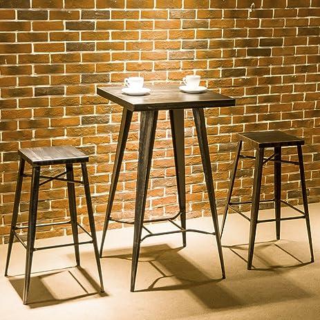 Harperu0026Bright Designs 3 Piece Pub Dining Table Set Metal Indoor Outdoor Bar  Table Set