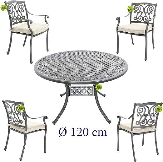 Hanseatisches Im- & Export Contor GmbH Juego de Muebles de jardín, jardín Muebles de jardín Mesa de edredón de Aluminio Fundido, diámetro 120 cm con 4 sillas de jardín: Amazon.es: Jardín