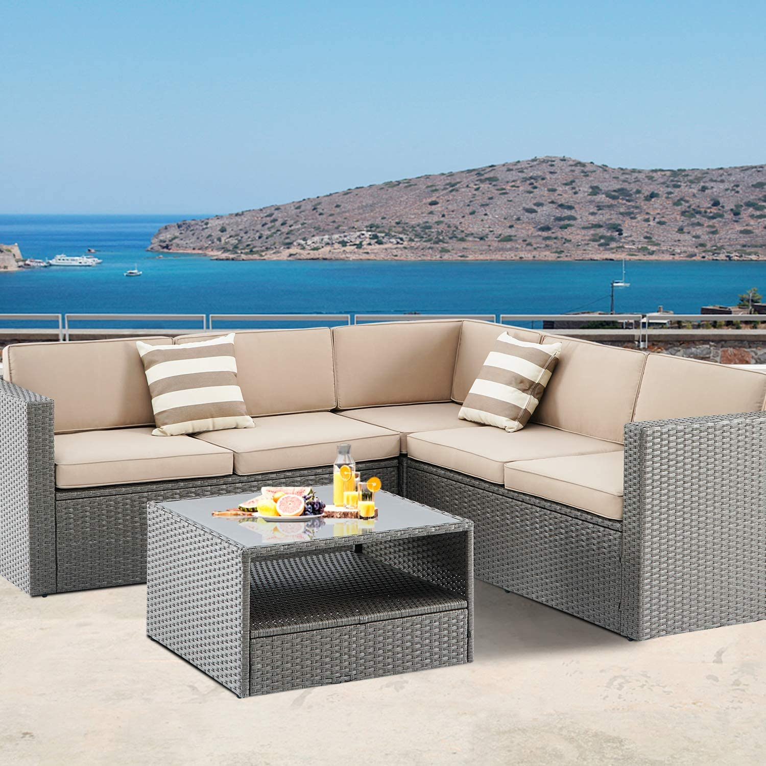 Blue SUNCROWN Outdoor 4-Piece Furniture Sectional Sofa Set All Weather Grey Wicker with Washable Seat Cushions and Modern Glass Coffee Table