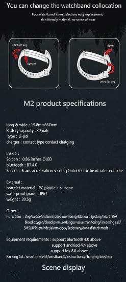 Kivors Impermeable Pulsera Inteligente Pulsera Actividad Bluetooth: Amazon.es: Deportes y aire libre