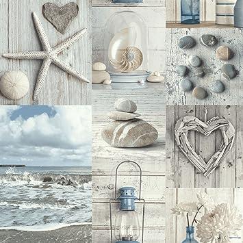 Beach Tapete Nautisches Badezimmer Pebbles Love Herzen blau grau ...