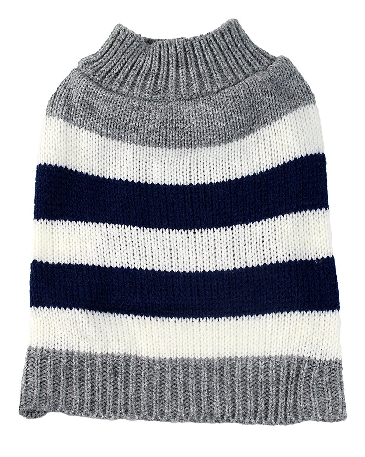 X-Large Gray Striped Colorblock Dog Sweater by Midlee fits 22'' Back Length