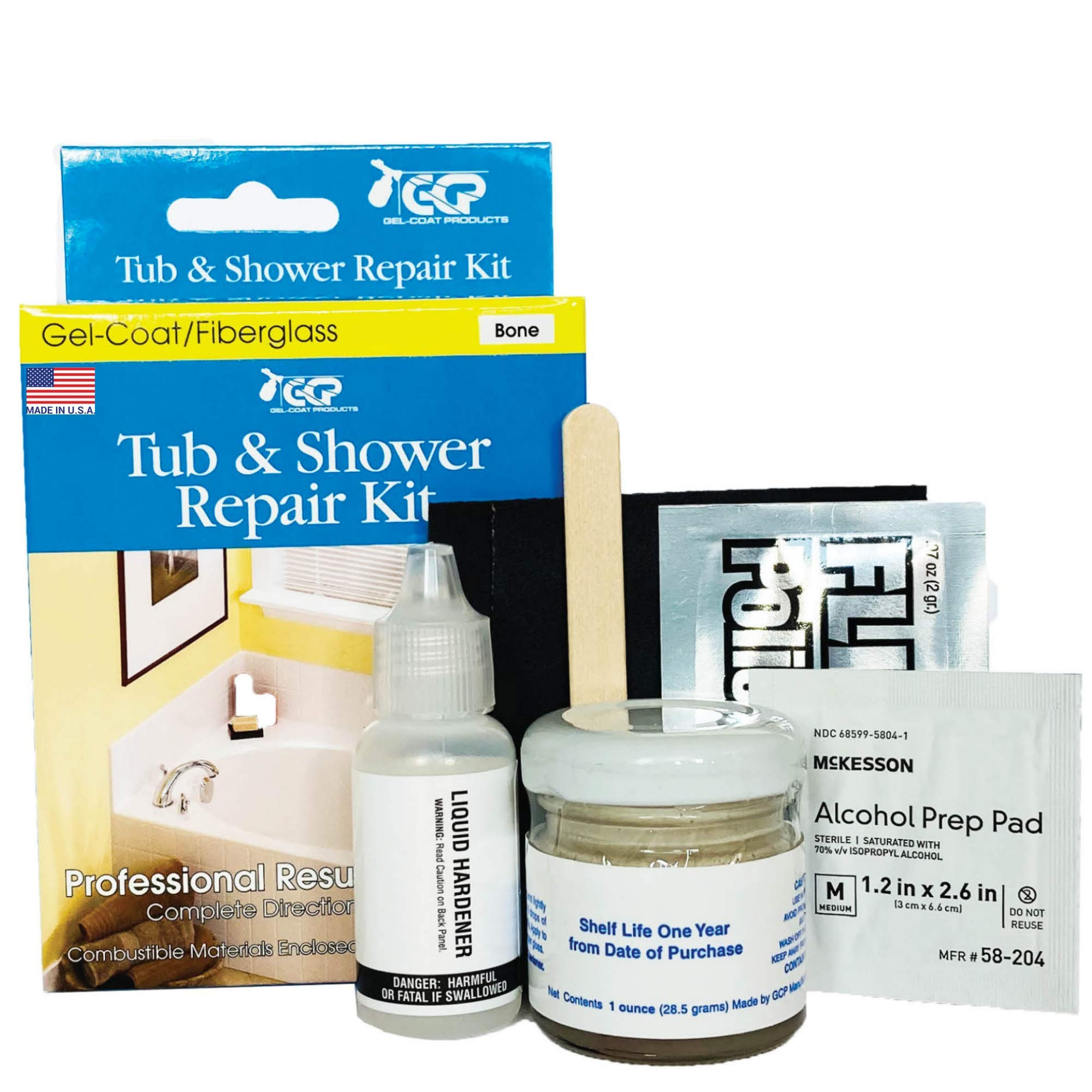 Gel-Coat Products 001 Tub and Shower Repair Kit, Bone