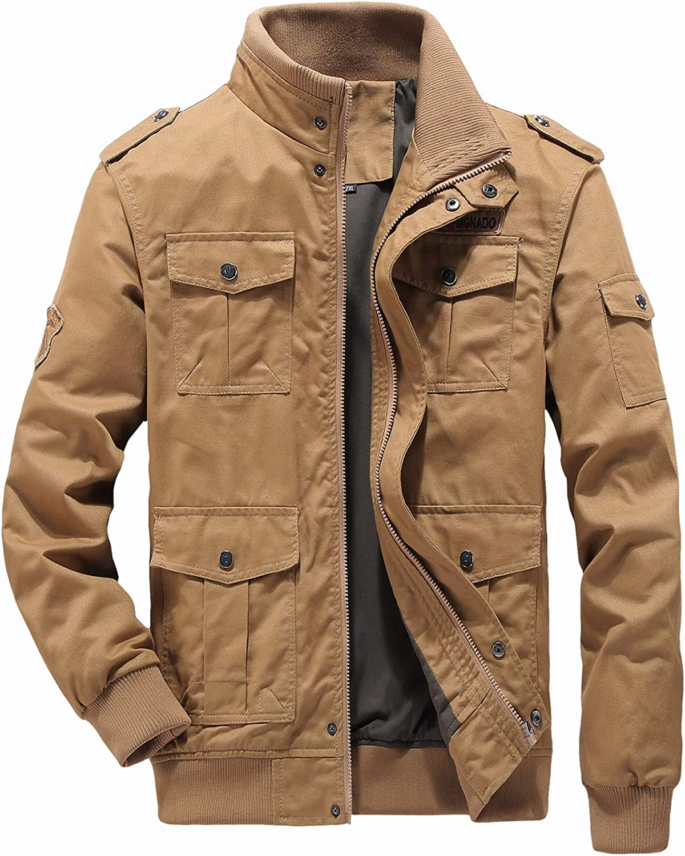 LABEYZON Mens Outdoor Casual Cotton Bomber Jacket Tactical Cargo Windbreaker Military Jacket Men