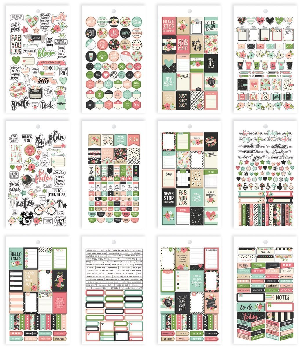 Carpe Diem Fun Design Bloom Mini Sticker Tablet Simple Stories 7993