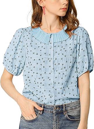 Allegra K Camisa Blusa con Botones Cuello Plisado Mangas De Soplo Floral para Mujer