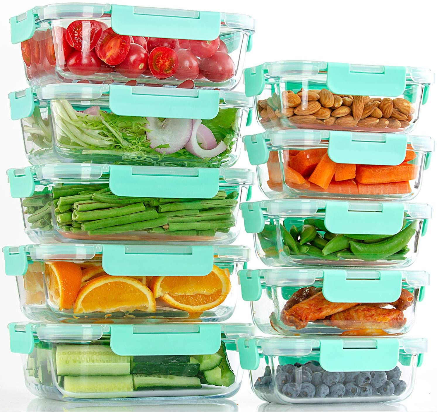 Glass Food Storage Containers with Lids, Airtight, BPA Free