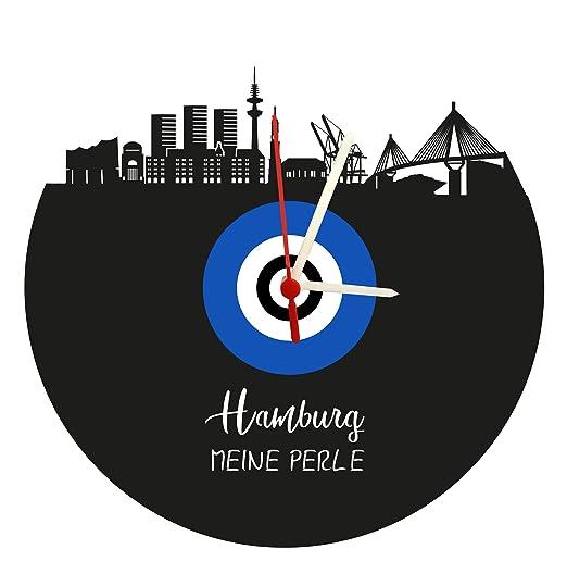 Reloj De Pared Skyline Hamburgo, Azul de Color Blanco, Placa acústica Reloj con Mecanismo de Cuarzo,, Fabricado en Alemania,: Amazon.es: Relojes