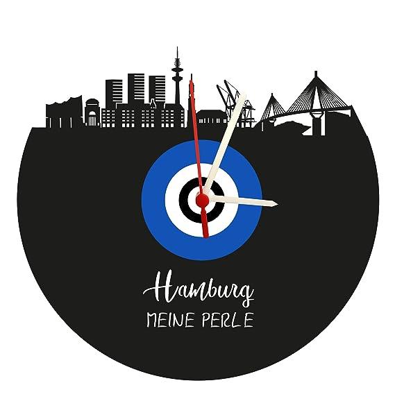 Reloj De Pared Skyline Hamburgo, Azul de Color Blanco, Placa acústica Reloj con Mecanismo