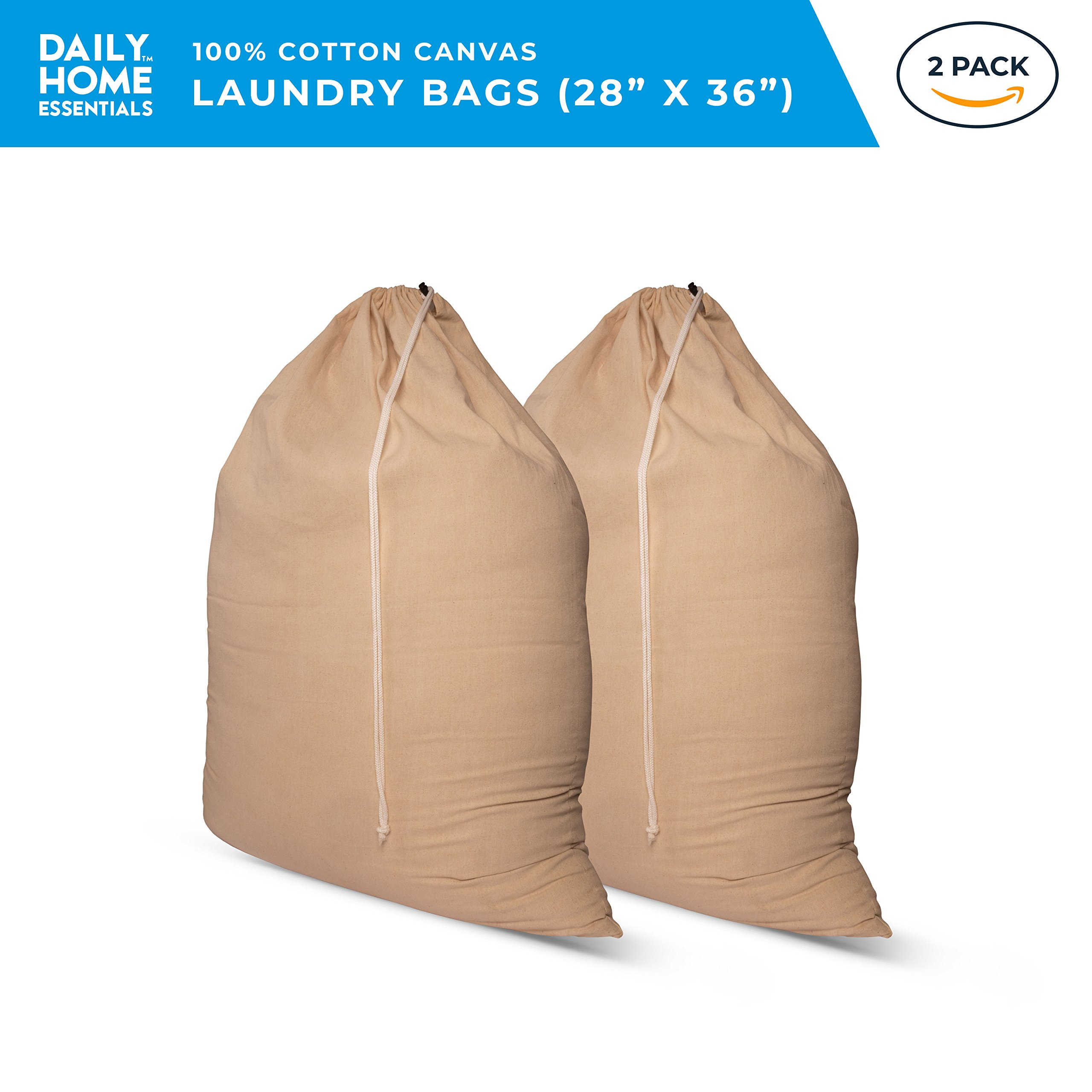 Daily Home Essentials Cotton Canvas Laundry Bags with Drawstring Closure - 2 Pack