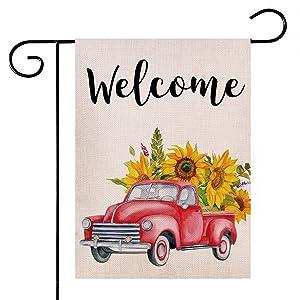 Hlonon Welcome Summer Garden Flag 12x18 Double Sided Burlap Garden Flag Summer Decor Vintage Truck Sunflower for Spring Summer Yard Decor Outdoor and Home Rustic Farmhouse