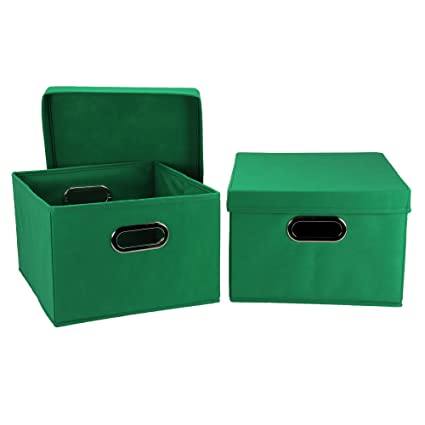 Household Essentials Fabric Storage Boxes with Lids and Handles  sc 1 st  Amazon.com & Amazon.com: Household Essentials Fabric Storage Boxes with Lids and ...
