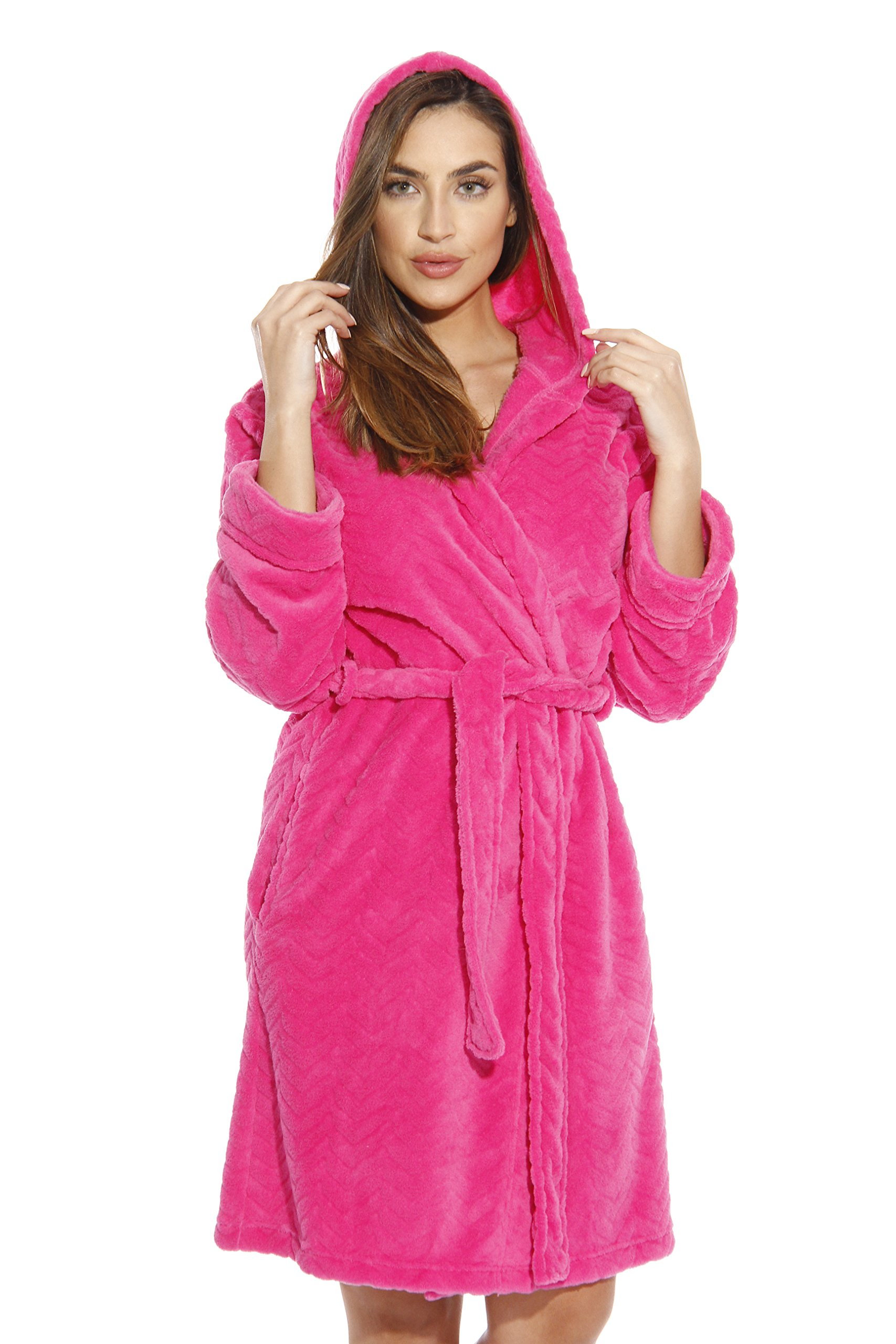 6341-Fuchsia-S Just Love Kimono Robe / Hooded Bath Robes for Women