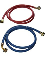 Eastman 60318 Rubber Washing Machine Hose with Elbow, 6 Ft Length, Red and Blue - 1 Pair
