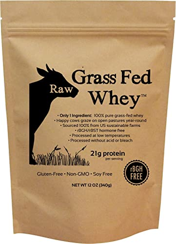Raw Grass Fed Whey – Happy Healthy Cows, COLD PROCESSED Undenatured 100 Grass Fed Whey Protein Powder, GMO-Free rBGH Free Soy Free Gluten Free No Added Sugar, Unflavored, Unsweetened 12 OZ