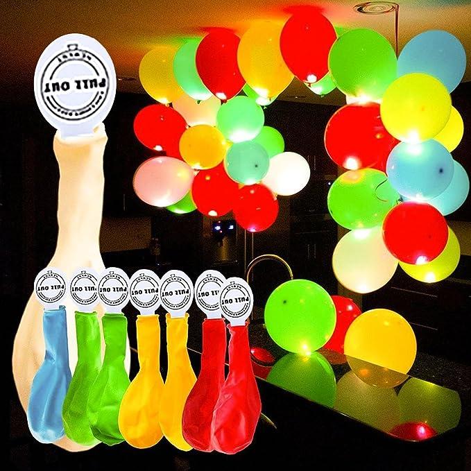 GHB 50 Pcs Globos Led Colores Globos Luz para Fiesta Boda Fiesta Cumpleaños Navidad Reunión Ceremonia: Amazon.es: Juguetes y juegos
