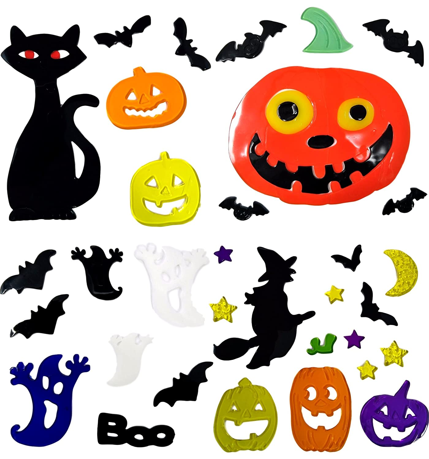 Atlona 4 Sheets of Halloween Window Stickers - Gel Clings Glass Decoration Tallon