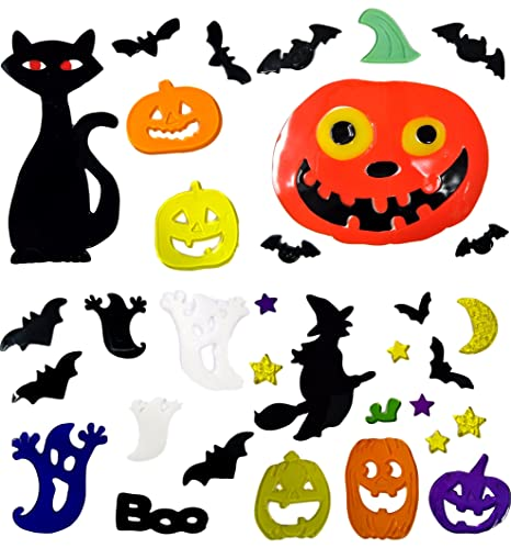 4 sheets of halloween window stickers gel clings glass decoration